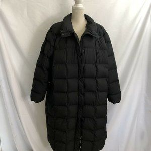 Lands End Quilted Down Puffer Long Coat Black 3X
